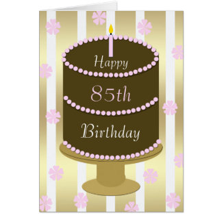 85th Birthday Card Cake in Pink