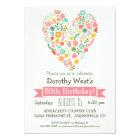 85th Birthday, Cute Floral Heart Birthday Party Card