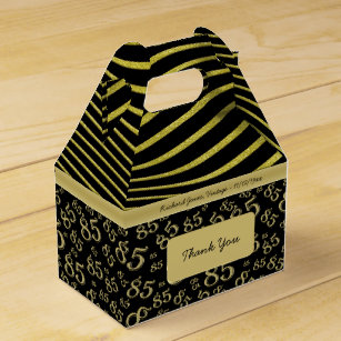 85th Birthday Gold And Black Collage Pattern Favour Box