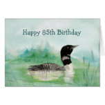 85th Birthday Humor Watercolor Loon Bird Nature Cards