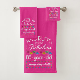 85th Birthday Most Fabulous Colorful Gems Pink Bath Towel Set