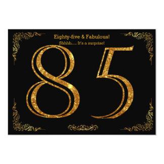 85th Birthday party,Gatsby styl,black gold glitter Card