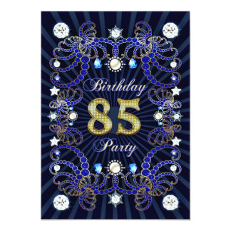 85th birthday party invite with masses of jewels