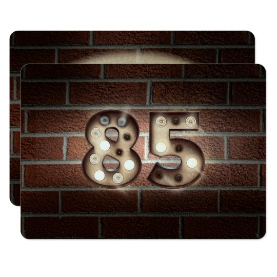 85th Birthday Party-marquee lights on brick Card