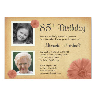 85th birthday surprise party invitations announcements zazzle 85th birthday party rustic daisy 2 photo invites filmwisefo