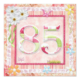 85th birthday party scrapbooking style 13 cm x 13 cm square invitation card