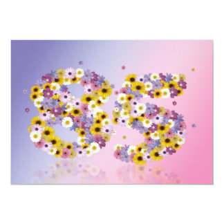 85th Birthday party, with flowered letters Custom Invites