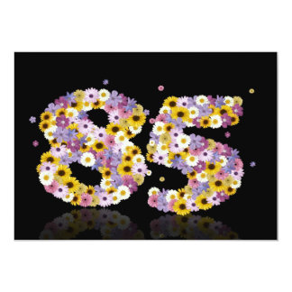 85th Birthday party, with flowered letters Custom Invitations