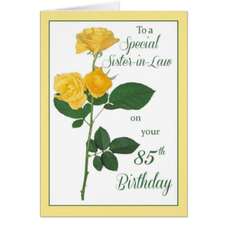 85th Birthday Rose, Sister-in-Law Greeting Card