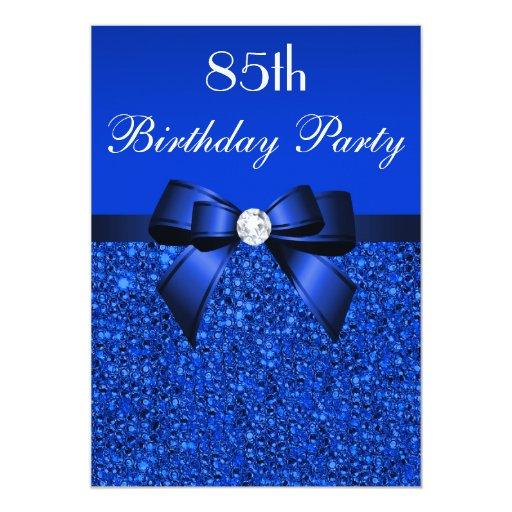 85th birthday royal blue sequins bow and diamond 13 cm x