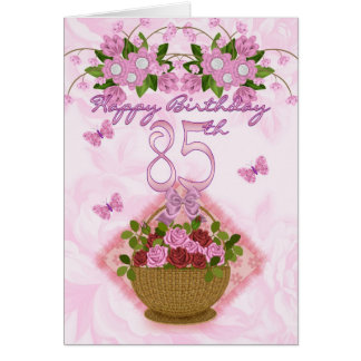 85th Birthday Special Lady Roses And Flowers - 85 Card
