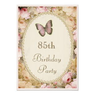 85th birthday invitations announcements zazzle 85th birthday vintage roses butterfly music notes invitation filmwisefo