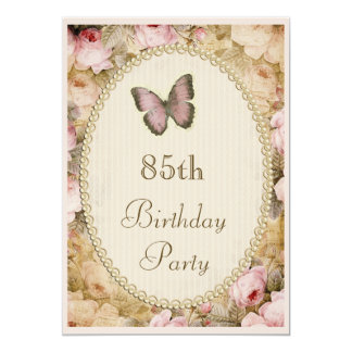 85th Birthday Vintage Roses Butterfly, Music Notes 13 Cm X 18 Cm Invitation Card