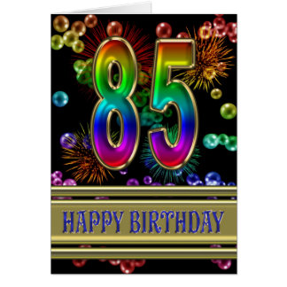 85th Birthday with rainbow bubbles and fireworks Card
