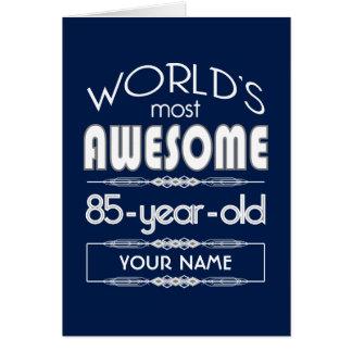 85th Birthday Worlds Best Fabulous Dark Blue Greeting Card