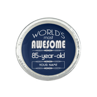85th Birthday Worlds Best Fabulous Dark Blue Ring