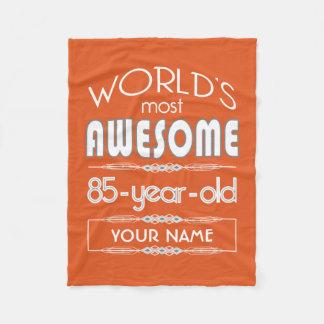 85th Birthday Worlds Best Fabulous Flame Orange Fleece Blanket