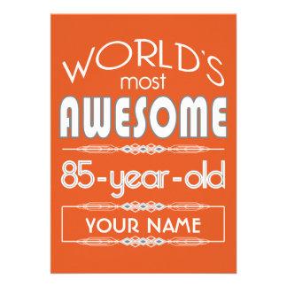 85th Birthday Worlds Best Fabulous Flame Orange Invitations