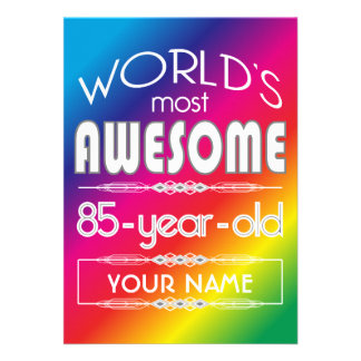 85th Birthday Worlds Best Fabulous Rainbow Personalized Announcement