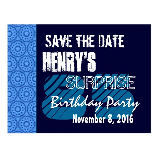 85th Surprise Birthday Save the Date Blue Pattern Postcard