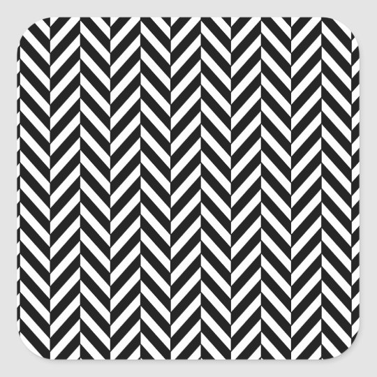 8690_chevron OPTICAL ILLUSIONS BLACK WHITE ZIG ZAG Square Sticker