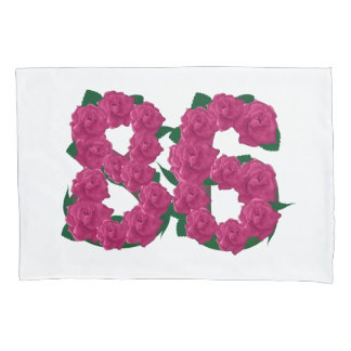 86 86th birthday number pink flowers pillow cover