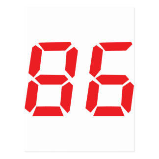 86 eighty-six red alarm clock digital number postcard
