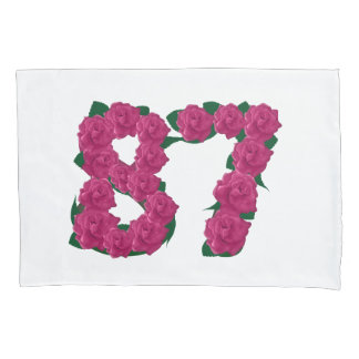 87 87th birthday number pink flowers pillow cover