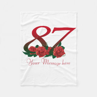 87th Birthday Custom teaxt Fleece Blanket
