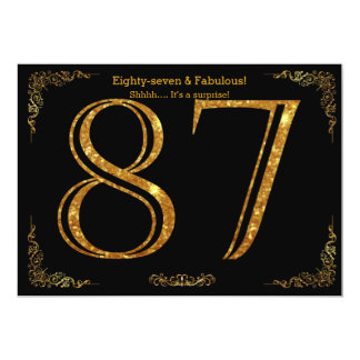 87th Birthday party,Gatsby styl,black gold glitter Card