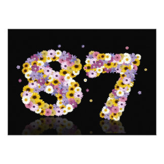87th Birthday party, with flowered letters Invites