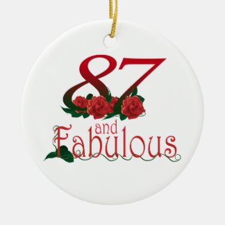 87th Birthday red rose Ornament
