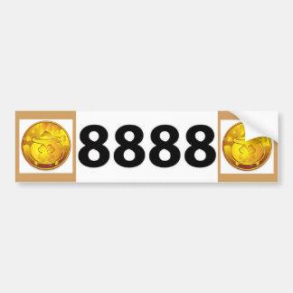 8888 License Plate Bumper Sticker