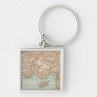 8889 Turkey, Syria, Palestine Silver-Colored Square Key Ring