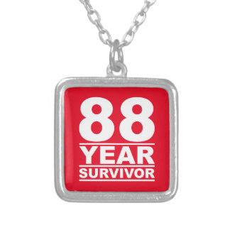 88 year survivor square pendant necklace