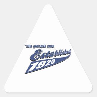 88th birthday designs triangle sticker