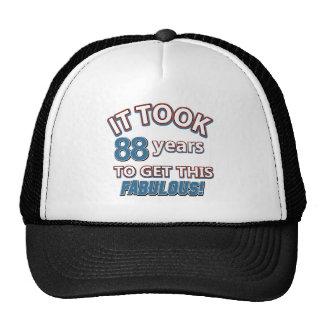 88th year birthday designs cap