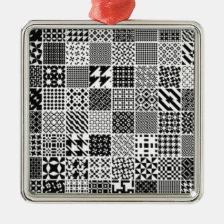 891-MonochromeGeometric BLACK WHITE GREY SQUARE GR Ornament