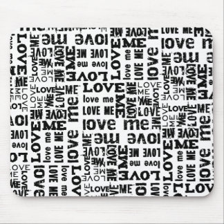 8928 BLACK WHITE LOVE TYPOGRAPHY DIGITAL ART COLLA MOUSE PAD