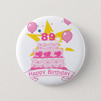 89 Year Old Birthday Cake 6 Cm Round Badge