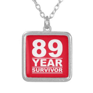 89 year survivor square pendant necklace
