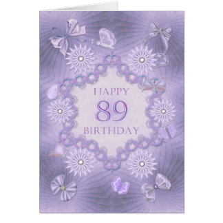 89th birthday card with lavender flowers