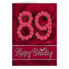 89th birthday card with roses and leaves
