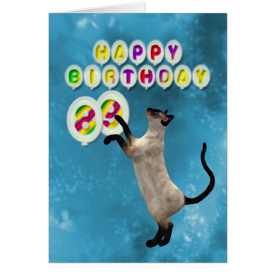 89th Birthday card with siamese cats