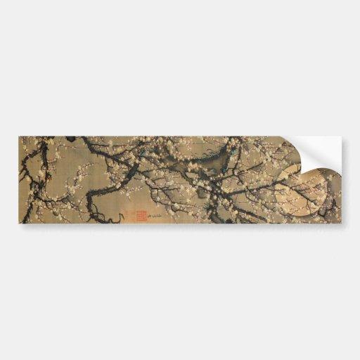 8. 梅花晧月図, 若冲 Moon and Plum blossoms, Jakuchū Bumper Sticker