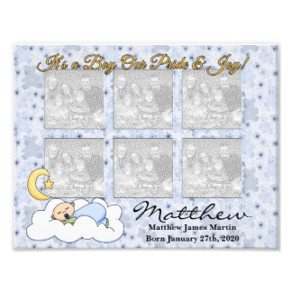 8-1/2x11 It's a Boy New Baby Photo Frame 6 Photos