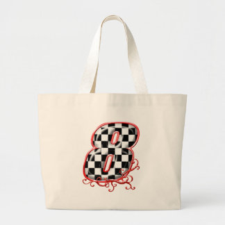 8 auto racing number tote bag