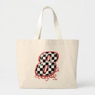 8 auto racing number jumbo tote bag