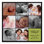 8 baby photo modern collage green black border