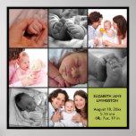8 baby photo modern collage green black border